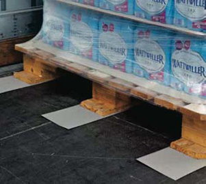 Three Anti Slip Load Mats Stowing a wooden pallet stacked with boxes