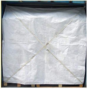 A Container Awning Safety sheet strapped diagonally over a cargo