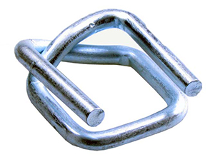A silver colour Galvanised Wire Buckles with a small dent, or W shape, at the corner