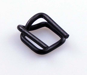 A black colour Nitrated Wire Buckles with blunt surface and a small dent, or W shape at the corner