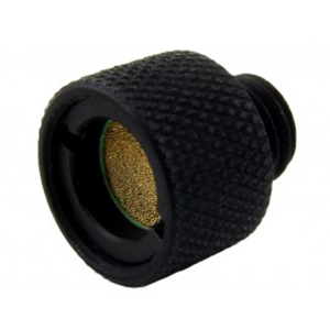 A Black Flange Mounted Drain Plug Made From Polycarbonate And Fitted With A Filter
