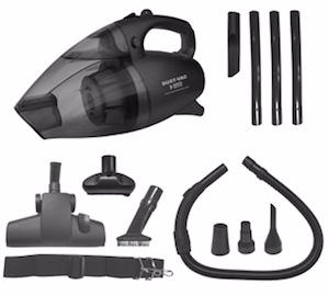 A Black Dust Vac With Full Attachment Kit
