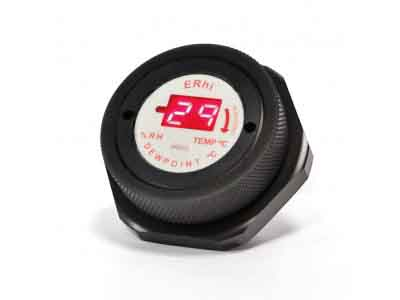A Black Electronic Humidity Indicator Plug With A Large LCD Easy To Read Screen For Readings Of Relative Humidity