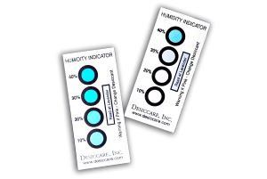 Two Humidity Indicator Cards With 10 to 40%, 4 Spots For Humidity Indicators. With Instructions: If Pink, Change Desiccant