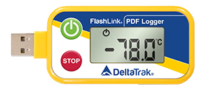 A Delta Trak Built-In USB Connector In-Transit PDF Logger, With A Large, Easy-To-Read LCD Temperature Screen.