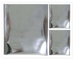 Three Silver Moisture Barrier Bags Of Different Sizes