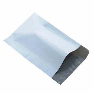 A Sealable White Poly Mailer With Dark Interior