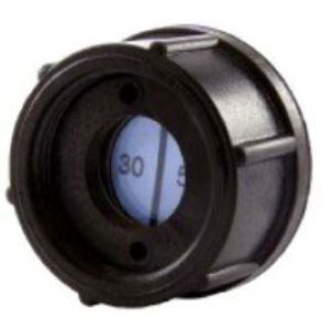 A Black R.F. Screened Humidity Indicator Plug With A Colour-Changing Indicator Paper