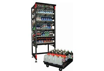 A Heavy Duty Shelf Filled With Bottled Drinks
